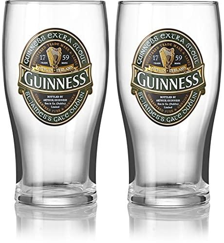 Guinness Pint-Gläser, offizielles Merchandise-Produkt, 2 Stück