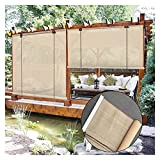 GAXQFEI Outdoor Shade Blinds, Filter Light Roller Shade, Privacy Protection <span class='highlight'><span class='highlight'>Sn</span></span>, Heat Insulation Cooling for Balcony Pergola,Beige,50 * 100Cm