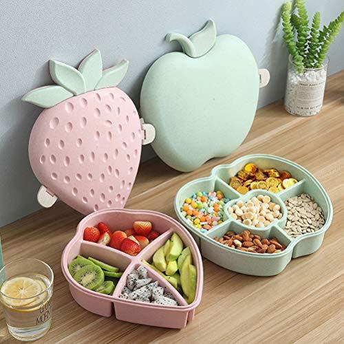 Stecto Snackbox Candy Box, Creative Cute Strawberry Shape Candy Aufbewahrungsbox, Snackbox in Lebensmittelqualität mit Deckel für Fruchtsnack