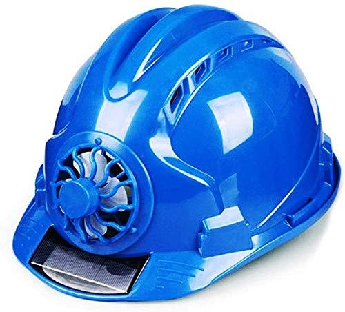 Sooiy Los Cascos con Ventilador, Caja Solar del Casco, Trabajador de construcción del Casco, Altura Resistencia ABS Material para Tapa Protectora de Trabajo al Aire Libre,Azul