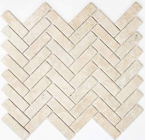 Mozaïek tegel keramiek visgraat steenlook lichtbeige tegelspiegel keuken MOS24-SO54_f | 10 mozaïekmatten
