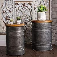 2-Pack Glitzhome Rustic Storage Bins Metal Stool Ottoman Seat with Round Wood Lid