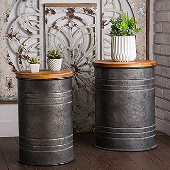 2-Set Glitzhome Rustic Storage Bins Metal Stool Ottoman Seat