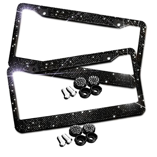 Zento Deals Sparkling Black Rhinestone Glitter Mixed Crystal Bling Stainless Steel License Plate Frame-2 Pack of All Weather-Proof Super Adhesive Black Rhinestone License Plate Frame