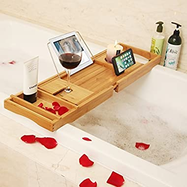 BAMBUROBA Bamboo Bathtub Caddy Tray Bathroom Organizer with Expandable Sides Holder for Book Glass Towel