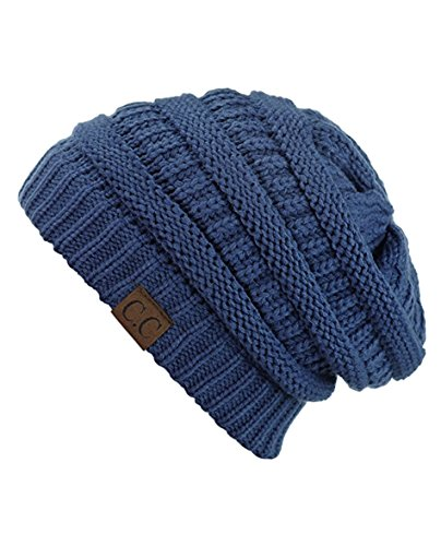C.C Women's Thick Slouchy Knit Beanie Cap Hat One Size Mineral Blue