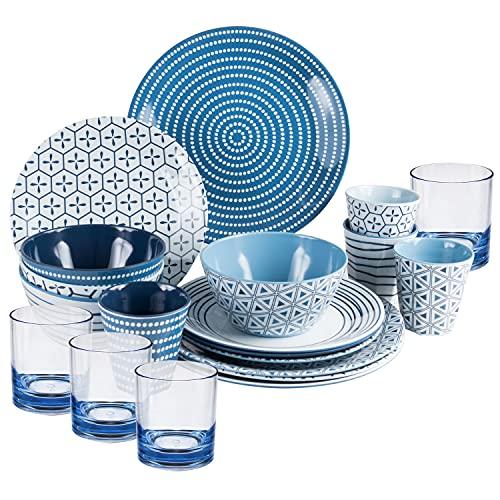 Melamin Geschirr und Acryl Glas Set für...