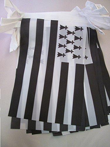 AZ FLAG Guirlande 6 mètres 20 Drapeaux Bretagne 21x15 cm - Drapeau Breton 15 x 21 cm