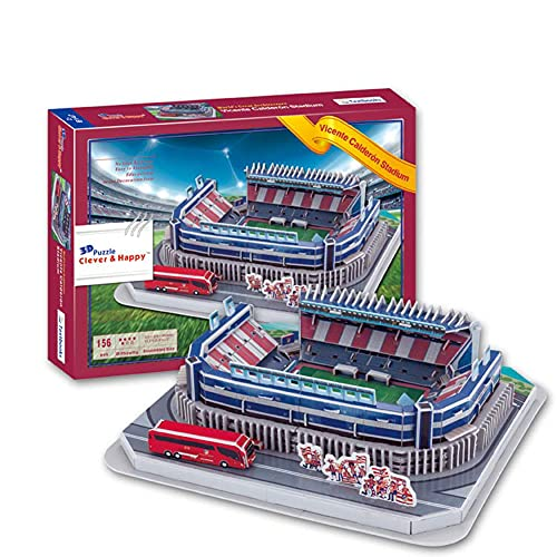SY-Home Modelo De Rompecabezas del Estadio Calderón, Estadio 3D del Atlético De Madrid Rompecabezas Educativo De Recuerdo DIY De España