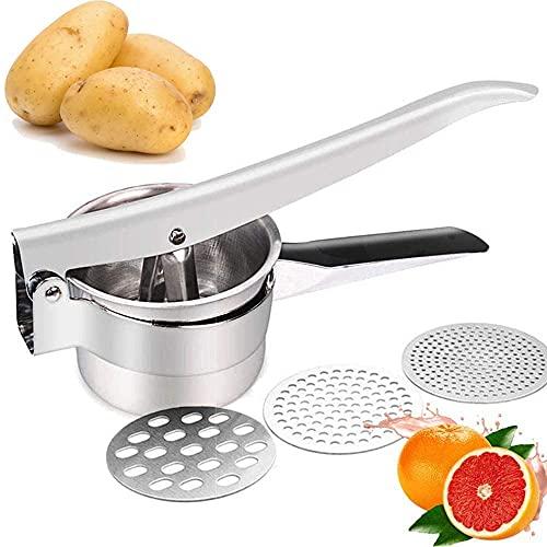 Presse-purée en Acier Inoxydable, Presse Puree Manuelle, Presse-pommes de Terre en acier Inoxydable, Presse-purée à Pommes de Terre avec...