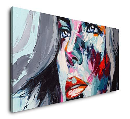 Paul Sinus Art Frau in bunt 120x 60cm Panorama Leinwand Bild XXL Format Wandbilder Wohnzimmer Wohnung Deko Kunstdrucke