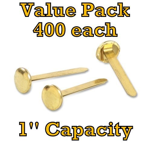 Value Pack of 400 ACCO Brass Plated Paper Fastener, 1 Inch Length, 400 Fasteners per Box (A7071710)