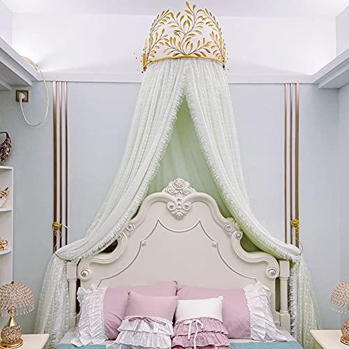 SXFYHXY Dosel De Cama De Encaje De Princesa con Corona, Mosquitera De Corte De Cortina De Cama Nórdica con Corona Dorada Moderna para Cama King Queen
