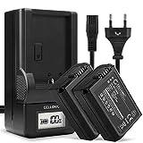 CELLONIC 2X Batería Compatible con Sony Alpha 6000 A6000 A6300 A6400 A6500 A5000 A5100 A7 II A7II A7s A7R RX10 III DSC-RX10 NEX-5 NEX-3 NEX-6 SLT-A37 A37 A35 NP-FW50, Cargador BC-VW1 Cable Carga Pila