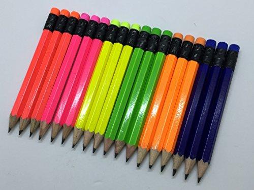 Half Pencils with Eraser - Golf, Classroom, Pew, Short, Mini - Hexagon, Sharpened, 2 Pencil, Color - Assorted Neons, Pkg of 36 Pocket Pencils