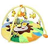Bammax Erlebnisdecke, Baby Krabbeldecke mit Spielbogen, Dicke&Weiche Spieldecke, 3d Activity Decke mit 9 abnehmbaren Spielzeugen für Babys Spiel & Spaß ab dem Geburt, 90CM Durchmesser,...
