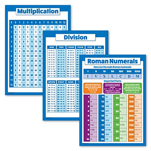 """3 Pack - Multiplication Table Poster + Division + Roman Numerals Chart (Laminated, 18"""" x 24"""")"""