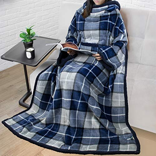 PAVILIA Sherpa Fleece Wearable Blanket with Sleeves for Adult Women Men | Blanket with Arms Pocket Throw for Couch Sofa Home | Cozy Warm Super Soft Plush Lightweight (Plaid Navy)