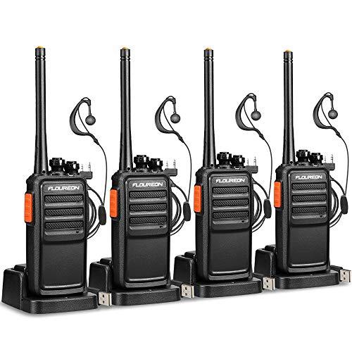 FLOUREON Recargable Walkie Talkie 16 Canales 2 Par PMR446 MHz Sin Licencia Radio Bidireccional Transceptor de Mano Indicador de Interphone de Largo Alcance Tot con Auriculares- Negro