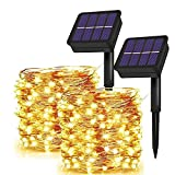 Solar String Lights Outdoor,2-Pack Each 72FT 200 LED Solar Powered Fairy Lights with 8 Lighting Modes Waterproof Fairy Christmas Halloween Decorative Lights for Garden, Homes, Party,Patio(Warm White)