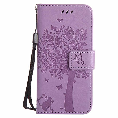 C-Super Mall-UK iPhone 5c Case, Embossed Tree Cat Butterfly Pattern PU...
