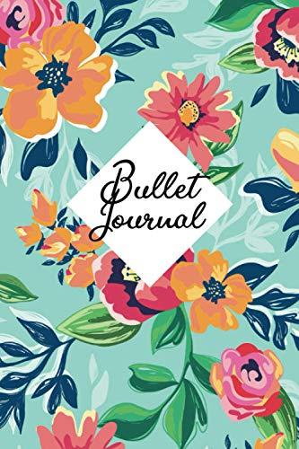 Bullet Journal: Quaderno con pagine puntinate | Formato 6x9 (15,24 x 22,86 cm) | Taccuino con copertina flessibile disegno floreale | ideale per tenere traccia delle cose da fare