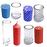 MILIVIXAY 4pcs Plastic Candle Molds for Candle Making - Including Pillar Mold, Cylinder Mold, Spiral Shape Cylinder Mold and Сylinder Rib Mold - Candle Making Molds