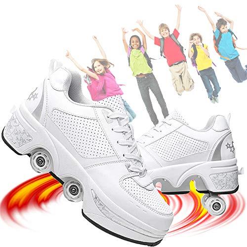 Patines para Niñas/Mujeres 2 En 1 Rueda De Deformación De Doble Fila Zapatillas para Caminar Automáticamente Patinaje sobre Hielo Sports Al Aire Libre Kick Rollershoeshoes,Plata,37EU/7.5US