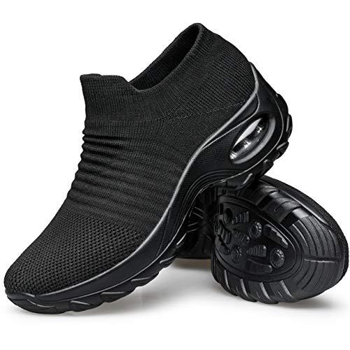 YHOON Women's Walking Shoes - Sock Sneakers Slip on Mesh Platform Air Cushion Athletic Shoes Work Nurse Comfortable Black 5.5