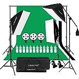 CRAPHY 2000W Kit Illuminazione Softbox, Kit Professionale Studio Fotografico con 3 Softbox, 2x3M Sfondi e Supporto per Sfondo, 3 Treppiedi, 12 LED Lampada 45W e Borsa Portatile per Fotografia e Video