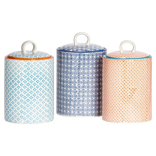 Nicola Spring Boîtes à Biscuits en Porcelaine - Motif Floral Bleu/Motif Bleu/Motif Orange - Lot de 3