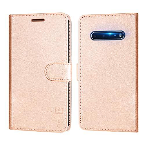 CoverON Schutzhülle für LG V60 THINQ 5G, RFID-blockierender Schutz, Klappetui mit Standfunktion, PU-Leder, rose gold