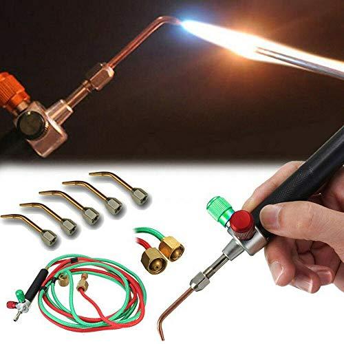 PoeHXtyy Schmuck Micro Mini Gas Little Torch Welding Lötset mit 5 Schweißspitzen für Sauerstoffflaschen