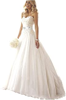 Ieuan Women's A Line Court Train Lace Beaded Beach Wedding Dress