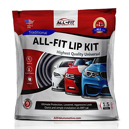 Original All-Fit Lip Kit Universal Spoilerlippe, die Langlebigste Spoiler Lippe zum ankleben und anschrauben, Tuning Frontspoiler, Gummilippe, 3M, 2,7m, Farbe schwarz Größe medium 6,4cm breit
