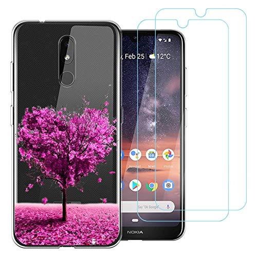 """Cover per Nokia 3.2,Albero d'Amore Premium Morbida Silicone Cellulare Protezione Custodia per Nokia 3.2 (6,2"""") con Pellicola Protettiva in Vetro Temperato"""