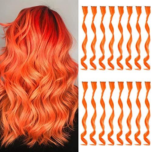 TOFAFA 16 Pcs Colored Hair Extensions Curly Wavy Clip in Synthetic Hairpiece Streak for Girls Women Kid, Multi-colors Party Highlights (Orange)