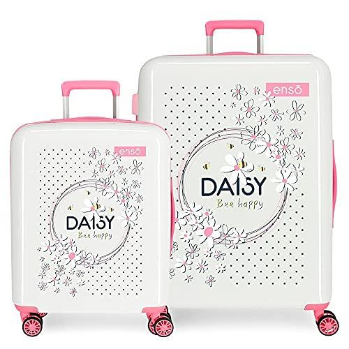 Enso Daisy Juego de Maletas Blanco 55/70 cms Rígida ABS Cierre TSA Integrado 119,5 6 kgs 4 Ruedas Dobles Equipaje de Mano
