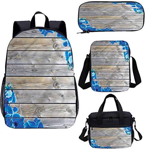 Rustic 17' School Backpack & Lunch Bag Set,Romantic Delphinium Bookbags 4 in 1