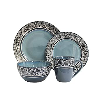 American Atelier Round Dinnerware Sets   Mosaic Blue Kitchen Plates Bowls and Mugs   16 Piece Stoneware Collection   Dishwasher & Microwave Safe   Service for 4