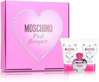 Pink Bouquet by Moschino for Women 3 Piece Set Includes: 0.17 oz Eau de Toilette + 0.8 oz Bath & Shower Gel + 0.8 oz Body Lotion