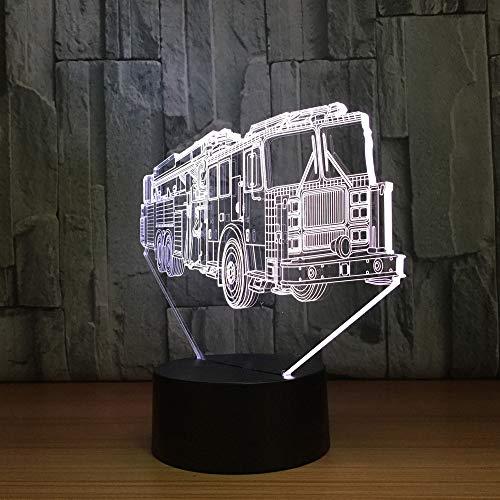 Lampe Illusion 3D,Voiture Capitaine De Camion De Pompiers Veilleuse Lumière De Nuit Led Usb Lampe De Chevet Avec 7 Couleurs Changeables Cadeau Parfait Pour Enfant De L'Emfance Fête Anniversaire De N