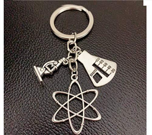 Wissenschaftler Schlüsselanhänger mit Messzylinder, Atom und Mikroskop Physik Chemie Biologie | Lehrer | Geschenk | Student | Wissenschaft