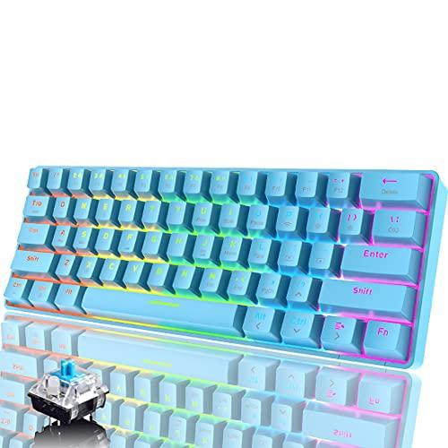 60% teclado mecánico, teclado de juegos con cable tipo C, teclado inalámbrico Bluetooth 5.0 de 61 teclas, teclado de modo dual RGB Rainbow LED, teclas completas anti-fantasma (interruptor azul)