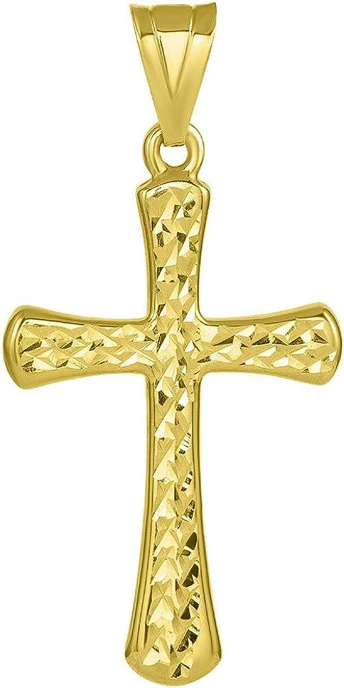 14k Yellow Gold Textured Elegant Religious Cross Pendant