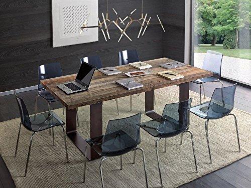 Table rectangulaire pour séjour, cuisine, en bois massif, anthracite, ciré, pieds en fer