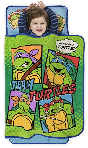 Teenage Mutant Ninja Turtles Toddler Nap Mat - Includes Pillow and Fleece Blanket – Great for Boys and Girls Napping at Daycare, Preschool, Or Kindergarten - Fits Sleeping Toddlers and Young Children