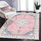 Alfombra marroquí Alfombra simple Felpudo área de estilo étnico persa Rosa pálido Azul Sala de estar Alfombra de piso Dormitorio Alfombra de ejercicio junto a la cama ( Size : 80x120cm(31x47inch) )