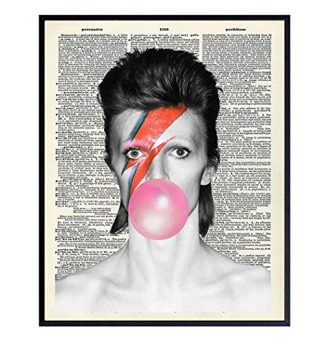 David Bowie Bubble Gum Upcycled Dictionary Wall Decor Picture - 8x10 Contemporary Pop Art Poster Print - Gift for 80s, 90s Music, Ziggy Stardust Fans