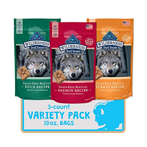 Blue Buffalo Wilderness Trail Treats High Protein Grain Free Crunchy Dog Biscuits Duck, Turkey, and Salmon 10-oz Variety Pack, 3ct
